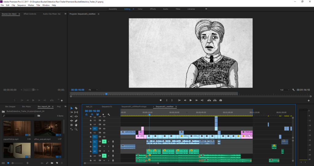 the Bucket Detective trailer in Adobe Premiere